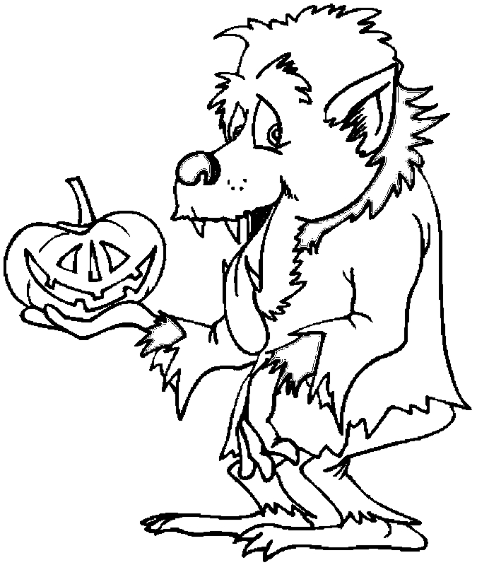 Werewolf with Pumpkin Halloween Coloring