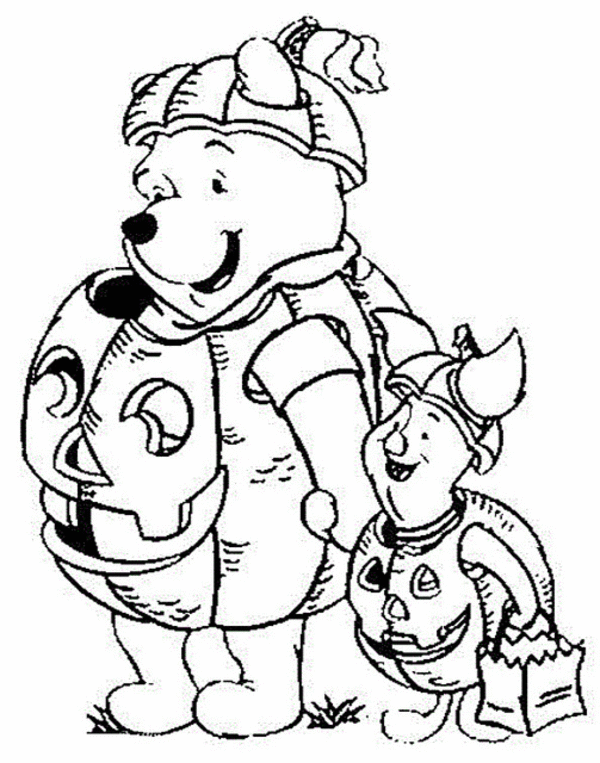 Winnie the Pooh and Piglet with Pumpkin and Trick or Treat NBag
