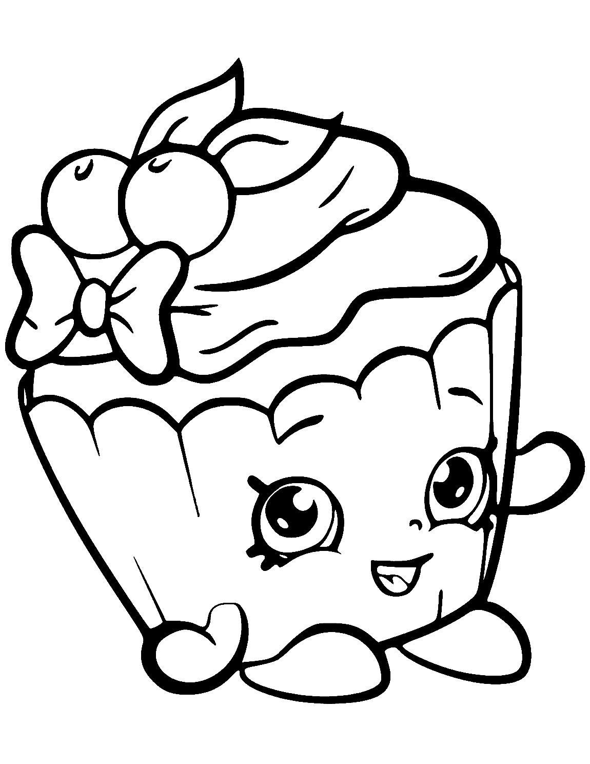 Cupcake Shopkins Cherry Nice Cupcake Coloring Page