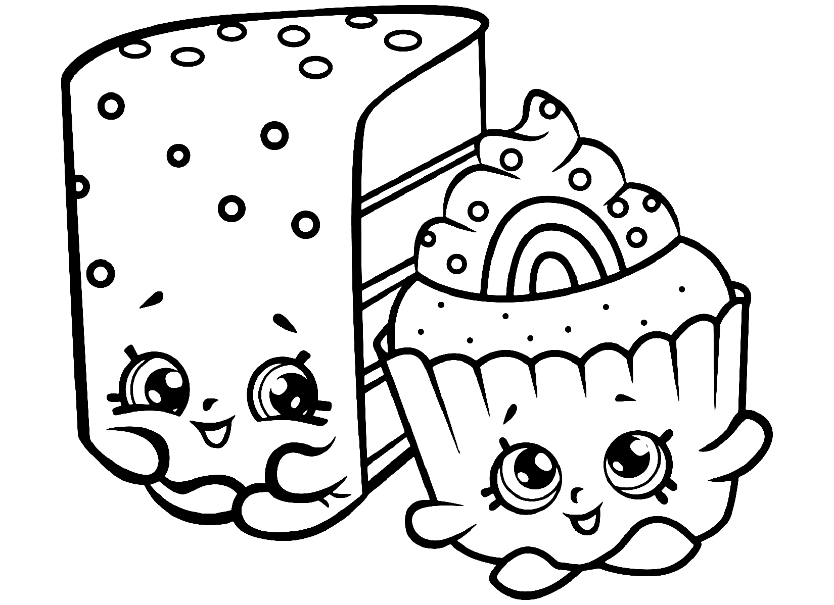 Shopkins Cheese Cake and Cupcake Limited Edition Printable Coloring Page