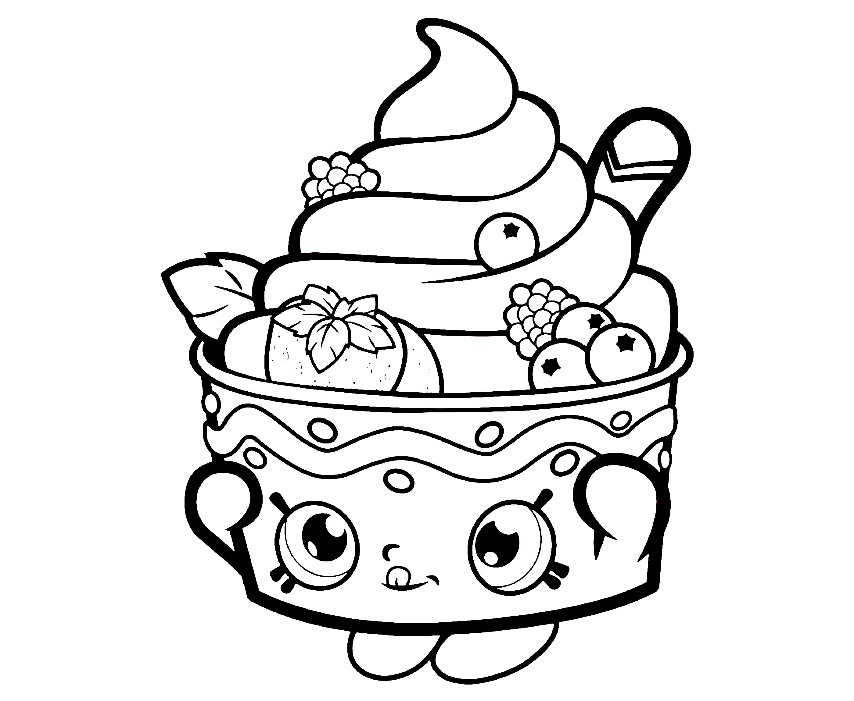 Shopkins Icecream Coloring Page for Kids
