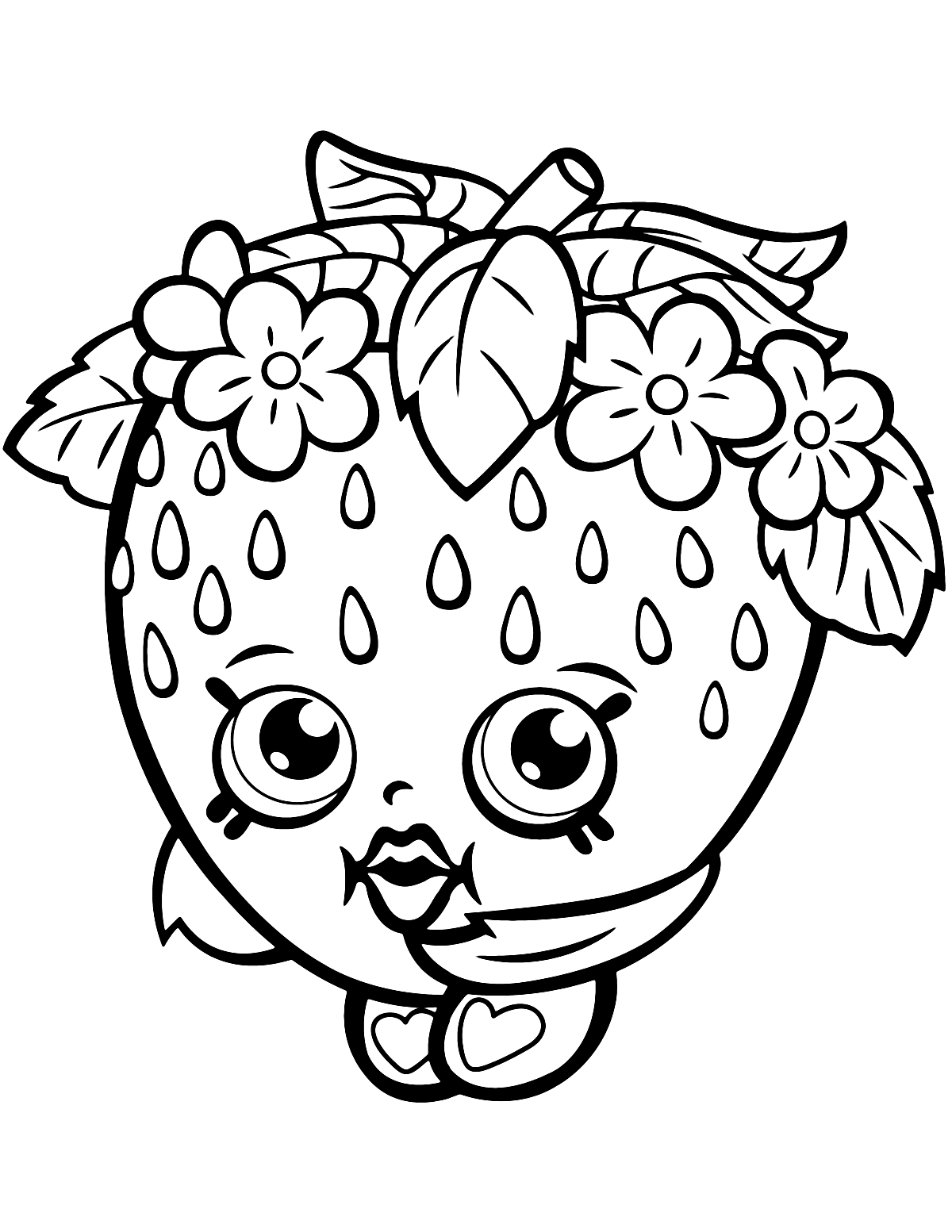 Strawberry Kiss Shopkin Season 1 Coloring Page