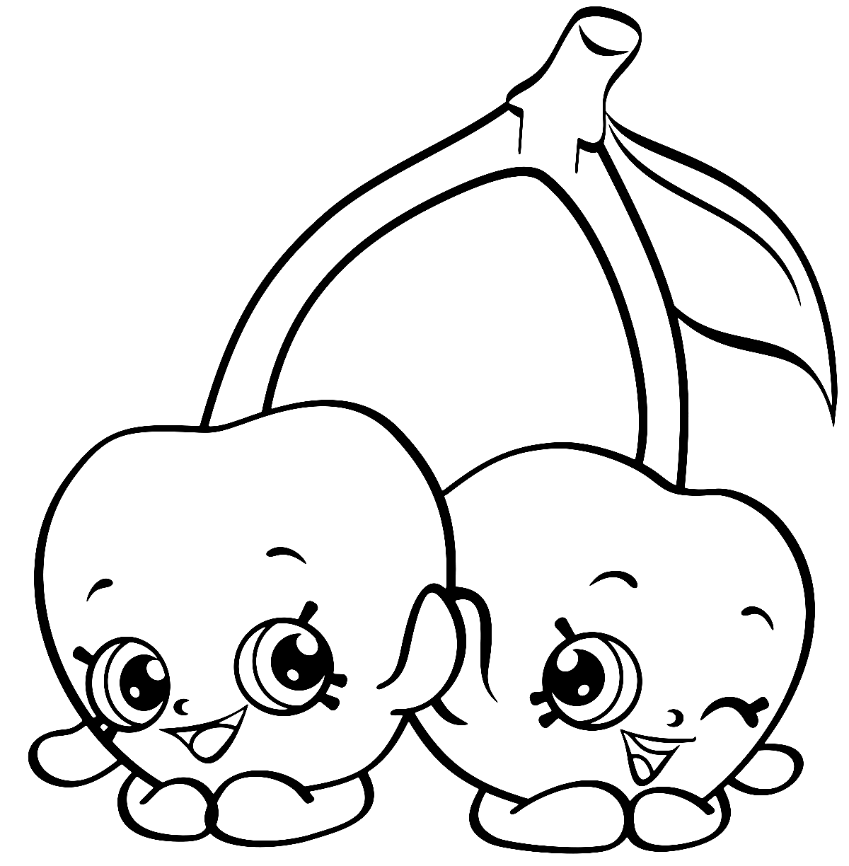 Twin Cherries Shopkins Coloring Page for Kids